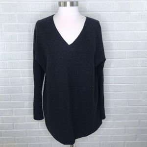 Vince Wool Cashmere V-neck Tunic Sweater Gray M